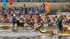 Dragon boat races in Hong Kong - 007 Stock Footage