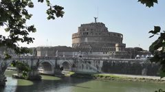Castel Sant Angelo, Tiber River and Bridge, Rome, Italy - HD1080 Stock Footage