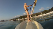 Mature man on the windsurf Stock Footage