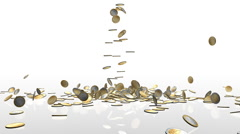 EUR coins falling on white reflective floor, camera rotation Stock Footage