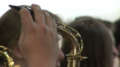 Golden sax tilt down Stock Footage