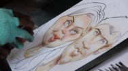 Stock Video Footage of caricature drawing of a couple in love 4
