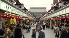 Traditional shopping street in Asakusa Stock Footage