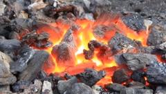 Blacksmith making horseshoe Stock Footage