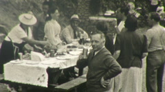 Italian Family Feast Picnic Outdoors Italy 1940s Vintage Film 8mm Home Movie 108 Stock Footage