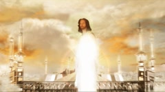 Jesus in Heaven Invites Pan up Stock Footage