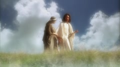 Jesus actor walks with woman Stock Footage