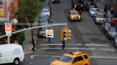 Manhattan street traffic taxy new york Stock Footage