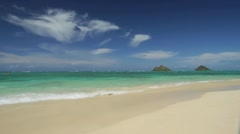 Hawaii Lanikai Beach wide beautiful summer tropical water kailua Stock Footage