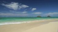 Stock Video Footage of Hawaii Lanikai Beach wide beautiful summer tropical water kailua