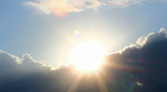 Timelapse with sun behind clouds Stock Footage