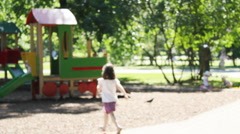 Playground in the city park. Out of focus. - stock footage