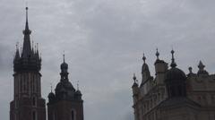 St. Mary's Basilica and Sukiennice in Krakow, Poland Stock Footage