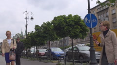 Matejko Square at Kleparz in Krakow, Poland Stock Footage