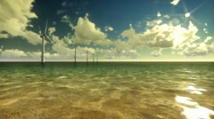 Wind Mills Off Shore and Time Lapse Clouds Stock Footage