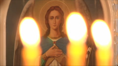 Icon of a saint in the church Stock Footage