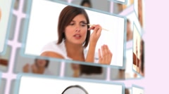 Montage of good looking women puting make-up on - stock footage