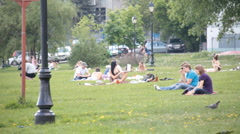People on holiday in the park Stock Footage