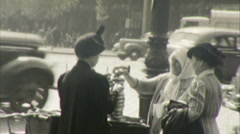 People New York City Street Scene 1930s 1940s Vintage Film Amateur Home Movie 47 Stock Footage