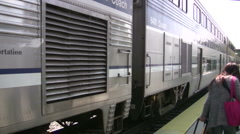 Train leaving the station in Ventura County, California Stock Footage