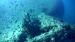 Back of sugar wreck with propellor, amazing visibility 2 Stock Footage