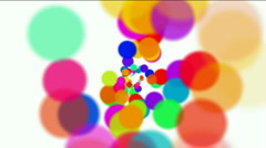 Abstract circles,bubbles blister background,dots fireworks particles tunnels. Stock Footage
