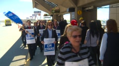 Striking workers on picket line, #2 Stock Footage