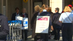 Striking workers on picket line, #3 Stock Footage