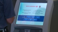 Airport check in electronic self check in Stock Footage