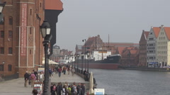 The medieval port in Gdansk, Poland Stock Footage