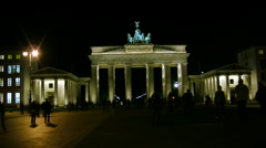 Night view of the Brandenburg Gate, Berlin, Germany Stock Footage