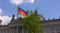 National German flag near the Reichstag, Berlin, Germany - stock footage