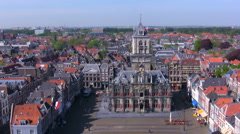 View from Nieuwe Kerk on Stadhuis, Delft, Netherlands Stock Footage
