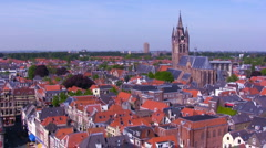 View from Nieuwe on Oude kerk, Delft, Netherlands Stock Footage