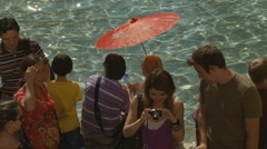 Unbrella next to the Trevi Fountain Stock Footage