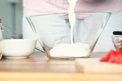 Mixing dough in bowl, time lapse NTSC Stock Footage