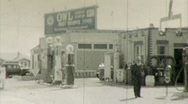 GAS Fuel STATION Depression Era Service 1930s Vintage Film 8mm Home Movie 123 Stock Footage