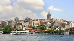 Galata Tower, Golden Horn in Istanbul Stock Footage