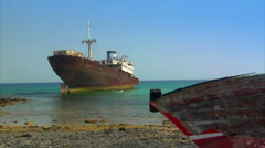 Old shipwrecks on ground Stock Footage
