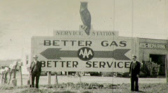 Gas Station Small Businessmen Startup Advertising Vintage Film Home Movie 126 Stock Footage