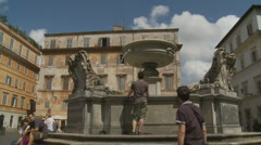 Glidecam Trastevere fountain in Rome Stock Footage
