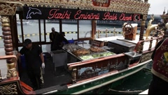 Balik Ekmek (fish sandwich) boat in Istanbul Stock Footage