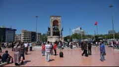 Republic Monument (Cumhuriyet Anıtı) in Istanbul, Turkey Stock Footage