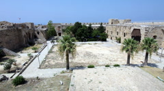 Inside Venetians Kyrenia Castle (16th c.), North Cyprus Stock Footage