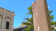 Puerto Rico - Old Olive Green Colonial Era Historic Building w big clock V3 Stock Footage