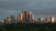 Stock Video Footage of Toronto skyline sunset. Timelapse. 25fps.
