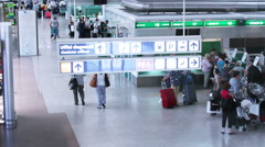 People in the checkin area of rome airport Stock Footage