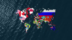 3D Wide World With Flags on Sea Slow Zoom Stock Footage