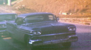 RETRO Car Parked on Highway CLASSIC 1957 Vintage Film 8mm Home Movie 96 Stock Footage