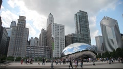 Chicago Skyline and Cloud Gate Sculpture - stock footage